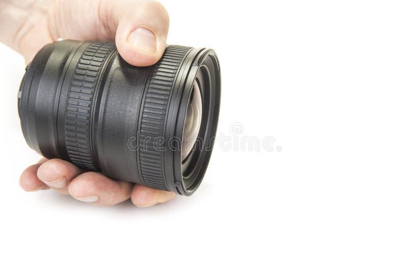 Просигнальте и исправьте объективы на камере на белой предпосылке стоковые фотографии rf