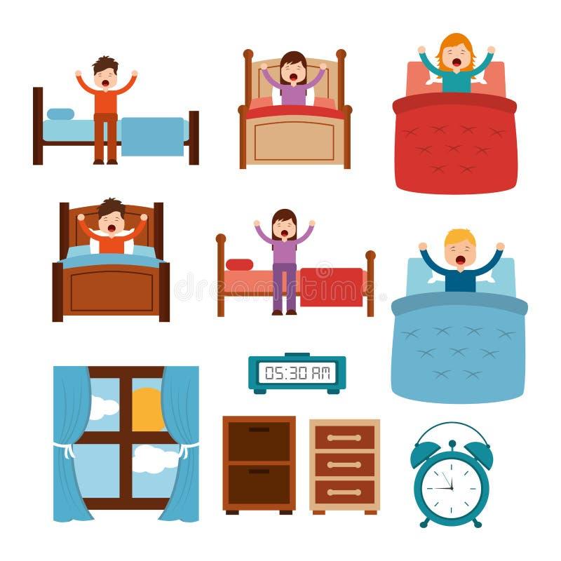 Проспите вверх по различным людям в окне прикроватных столиков сигнала тревоги часов простирания кровати иллюстрация штока