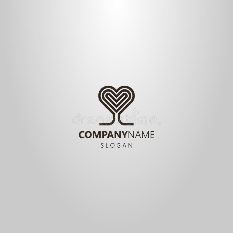 Простая абстрактная линия логотип вектора искусства в форме сердц дерева кроны иллюстрация вектора