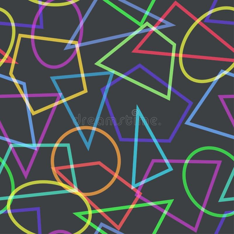 Простая безшовная картина с кругами, треугольниками и полигонами иллюстрация вектора
