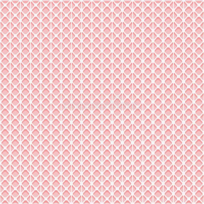 Простая безшовная текстура сетки шнурка Белая решетка на розовой предпосылке иллюстрация штока