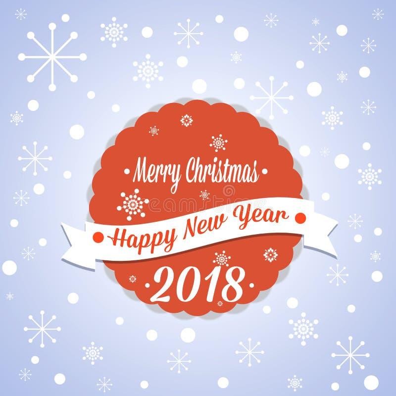 Простая винтажная ретро рождественская открытка 2018 иллюстрация штока
