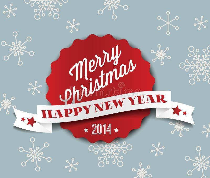 Простая винтажная ретро рождественская открытка 2014 вектора иллюстрация штока