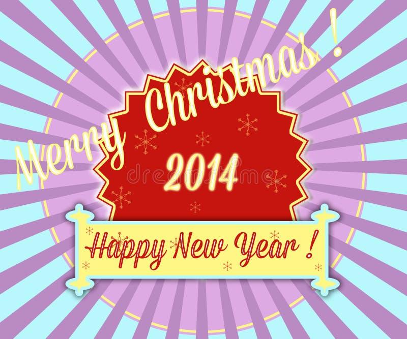 Простая винтажная ретро рождественская открытка 2014 бесплатная иллюстрация