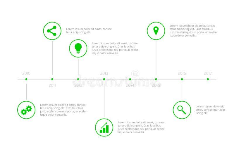 Простая временная последовательность по Infographic - зеленый цвет иллюстрация вектора