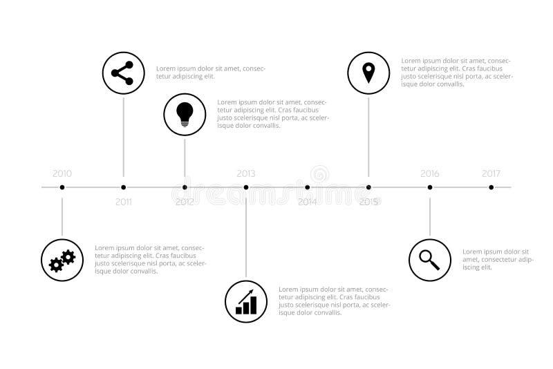 Простая временная последовательность по Infographic - чернота иллюстрация штока