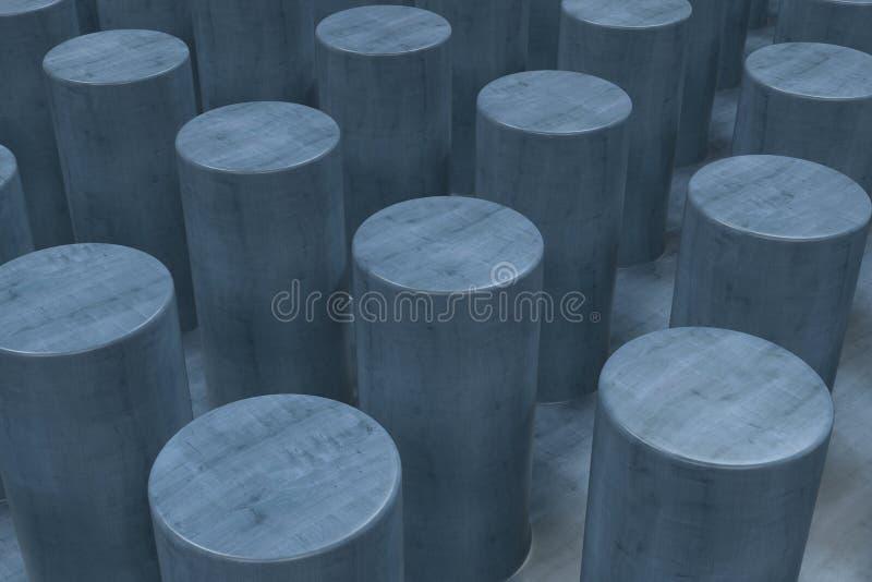 Простая голубая деревянная поверхность с цилиндрами иллюстрация вектора