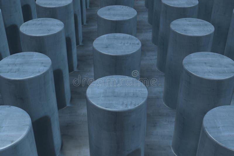 Простая голубая деревянная поверхность с цилиндрами бесплатная иллюстрация