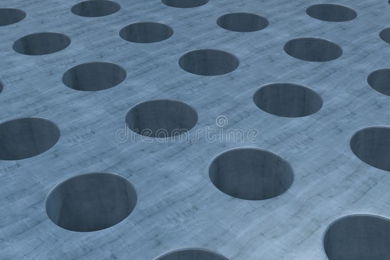 Простая голубая деревянная поверхность с цилиндрическими отверстиями бесплатная иллюстрация