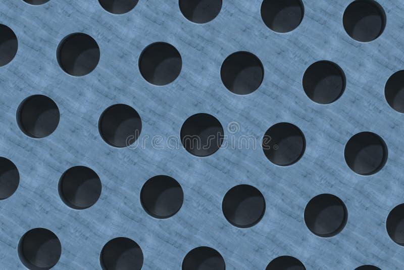Простая голубая деревянная поверхность с цилиндрическими отверстиями иллюстрация вектора