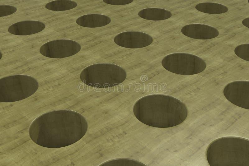 Простая желтая деревянная поверхность с цилиндрическими отверстиями иллюстрация штока