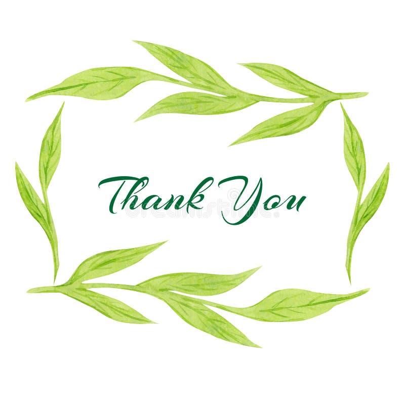 простая зеленая акварель выходит дизайн карты флористическая рамка листьев Шаблон для приглашения свадьбы и сохранить карты даты иллюстрация вектора