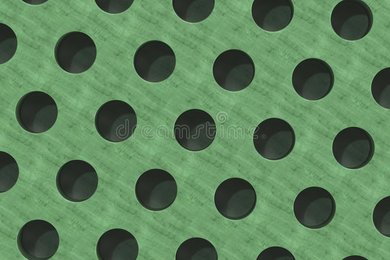 Простая зеленая деревянная поверхность с цилиндрическими отверстиями иллюстрация вектора