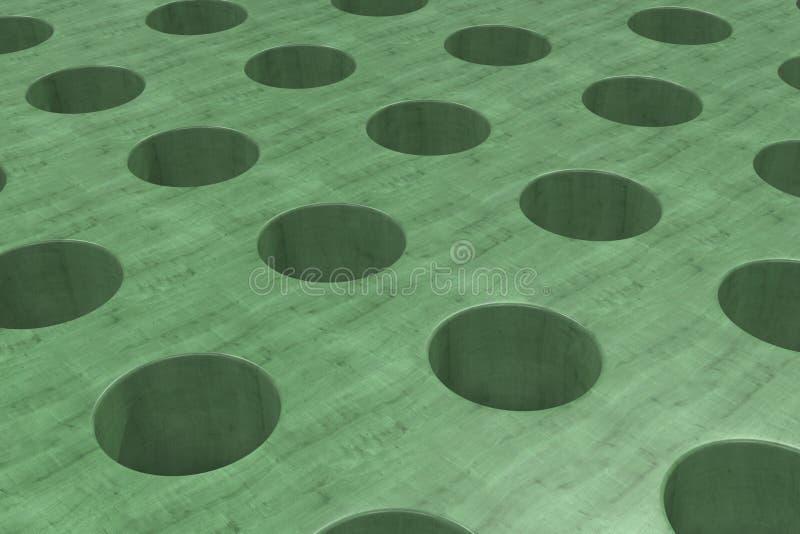 Простая зеленая деревянная поверхность с цилиндрическими отверстиями иллюстрация штока