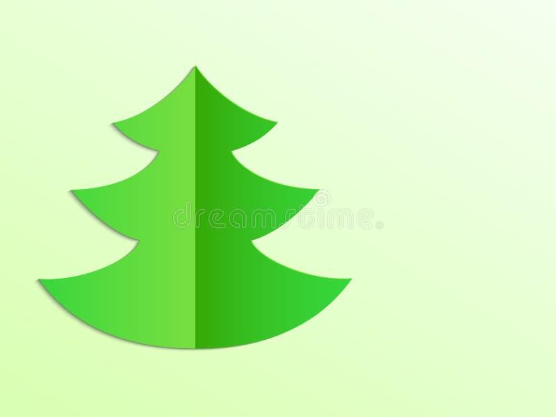 Простая зеленая сложенная бумажная иллюстрация вектора рождественской елки бесплатная иллюстрация