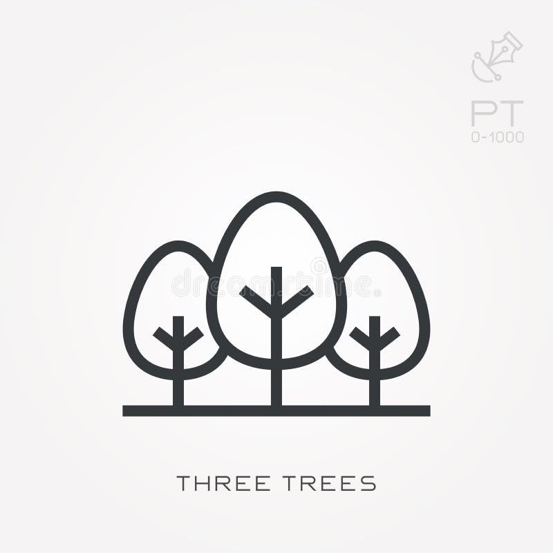 Простая иллюстрация вектора со способностью изменить Линия деревья значка 3 иллюстрация штока