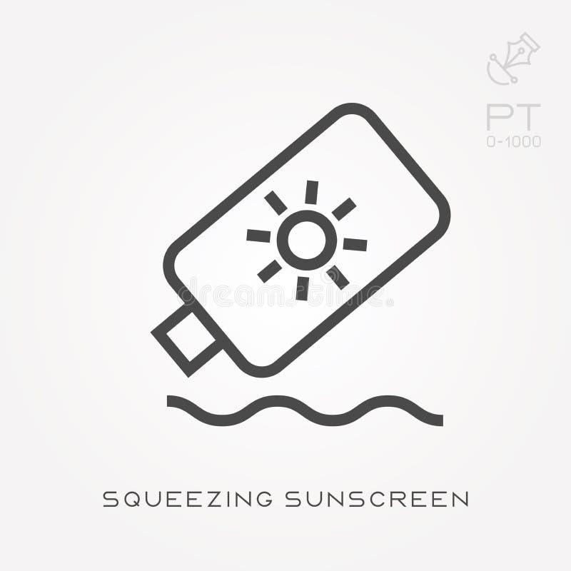 Простая иллюстрация вектора со способностью изменить Линия значок сжимая солнцезащитный крем бесплатная иллюстрация