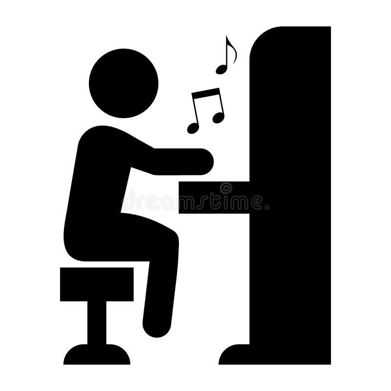 Простая иллюстрация человека играя рояль черный силуэт Изолировано на белизне иллюстрация штока