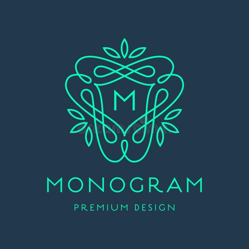 Простая линия дизайн логотипа вензеля искусства иллюстрация штока