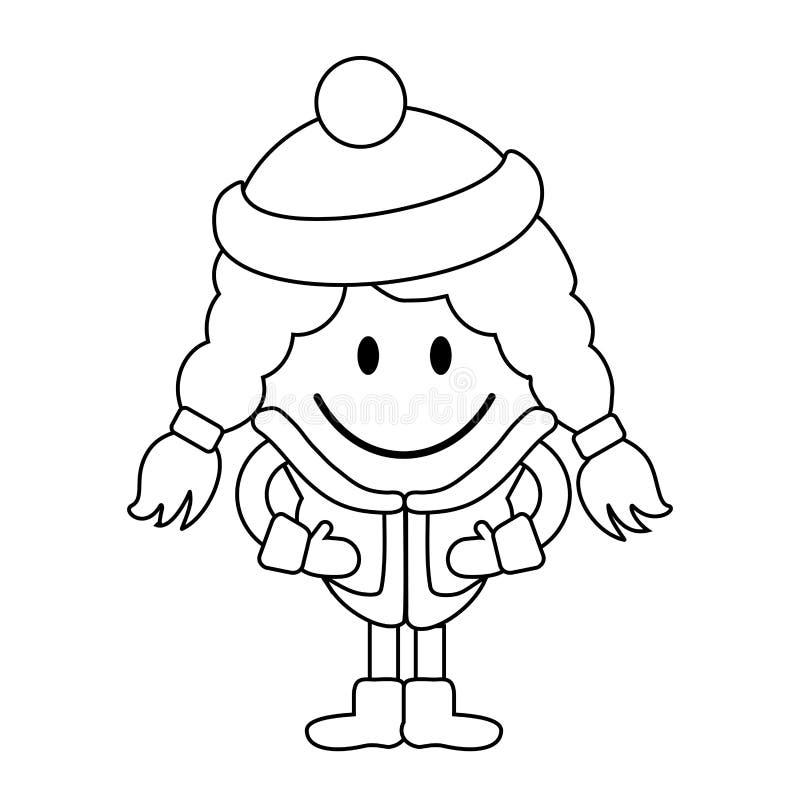 Простая линия чертеж Милая маленькая девочка в одеждах зимы иллюстрация штока