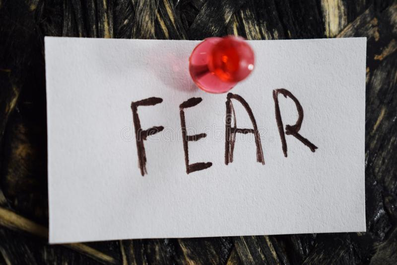 Простая и постижимая надпись, страх стоковая фотография