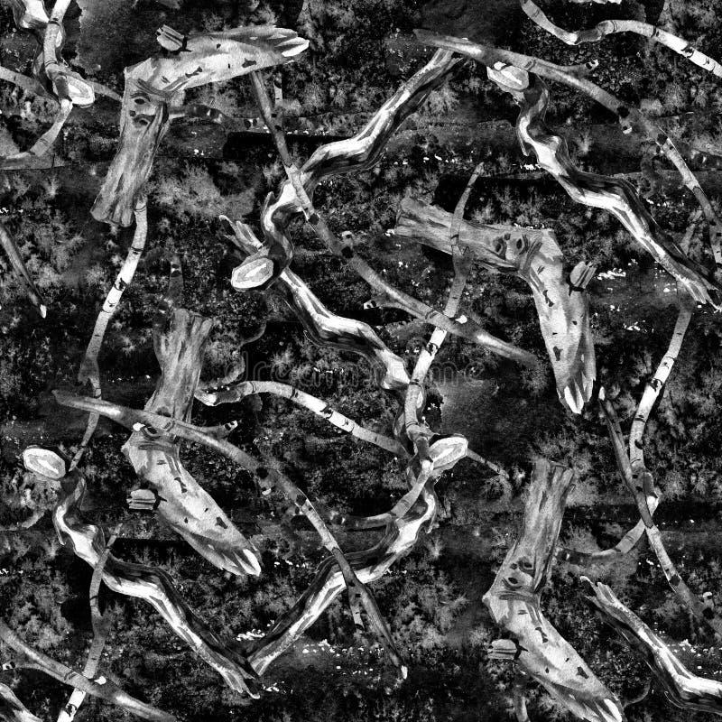 Простая картина акварели, старые сухие ветви дерева, безшовные обои, цветочный узор стоковое изображение rf