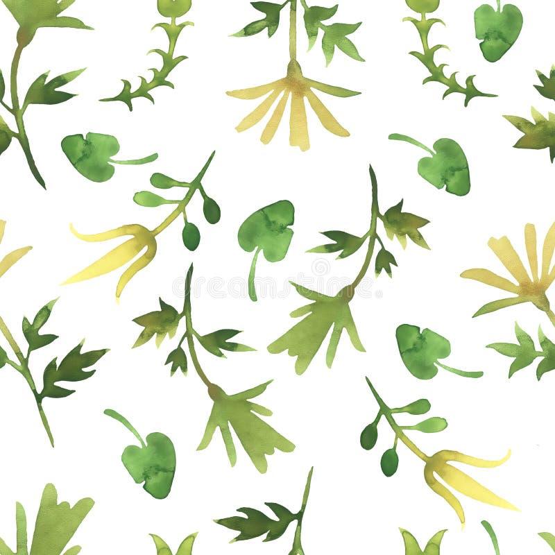 Простая картина акварели с листьями Светлый цветочный узор на простой белой предпосылке стоковые фото