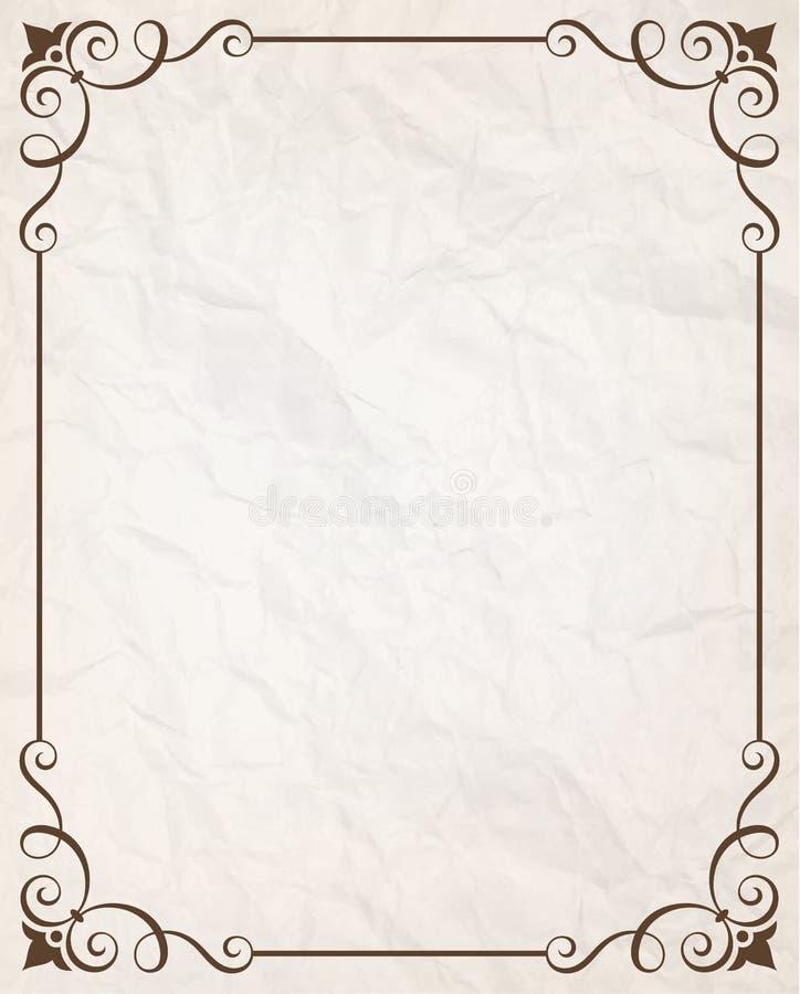 Простая каллиграфическая рамка с сморщенной бумажной текстурой иллюстрация штока