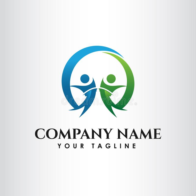 Простая концепция для красочного логотипа людей общины иллюстрация штока