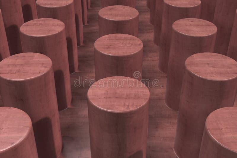 Простая красная деревянная поверхность с цилиндрами бесплатная иллюстрация
