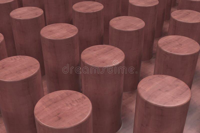 Простая красная деревянная поверхность с цилиндрами иллюстрация штока