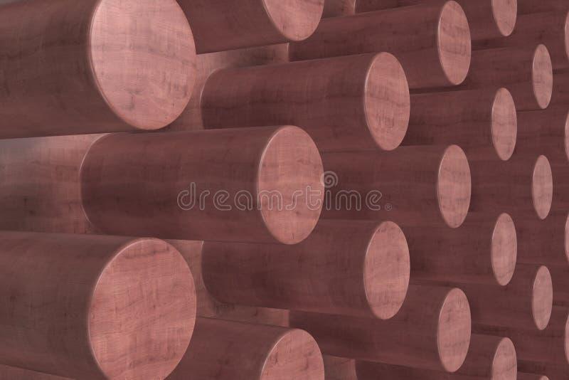 Простая красная деревянная поверхность с цилиндрами иллюстрация вектора