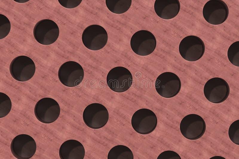 Простая красная деревянная поверхность с цилиндрическими отверстиями бесплатная иллюстрация