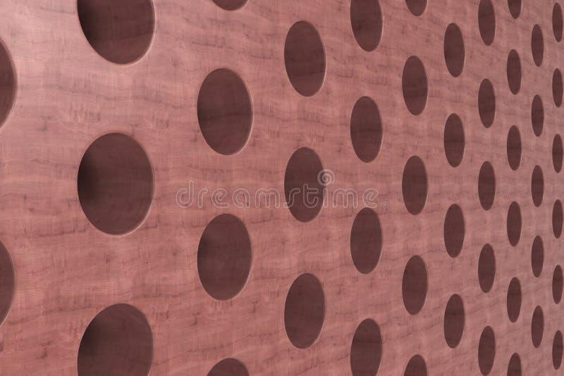 Простая красная деревянная поверхность с цилиндрическими отверстиями иллюстрация вектора