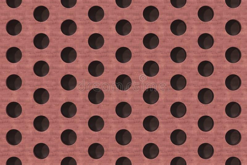 Простая красная деревянная поверхность с цилиндрическими отверстиями иллюстрация штока