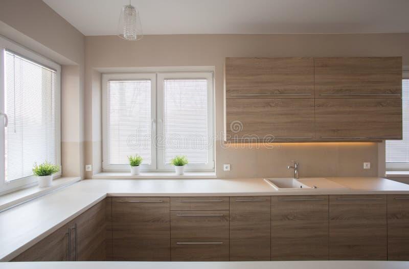 Простая кухня с деревянной мебелью стоковые изображения rf