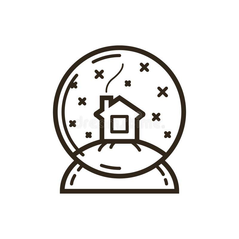 Простая линия дом вектора значка искусства в глобусах снега бесплатная иллюстрация