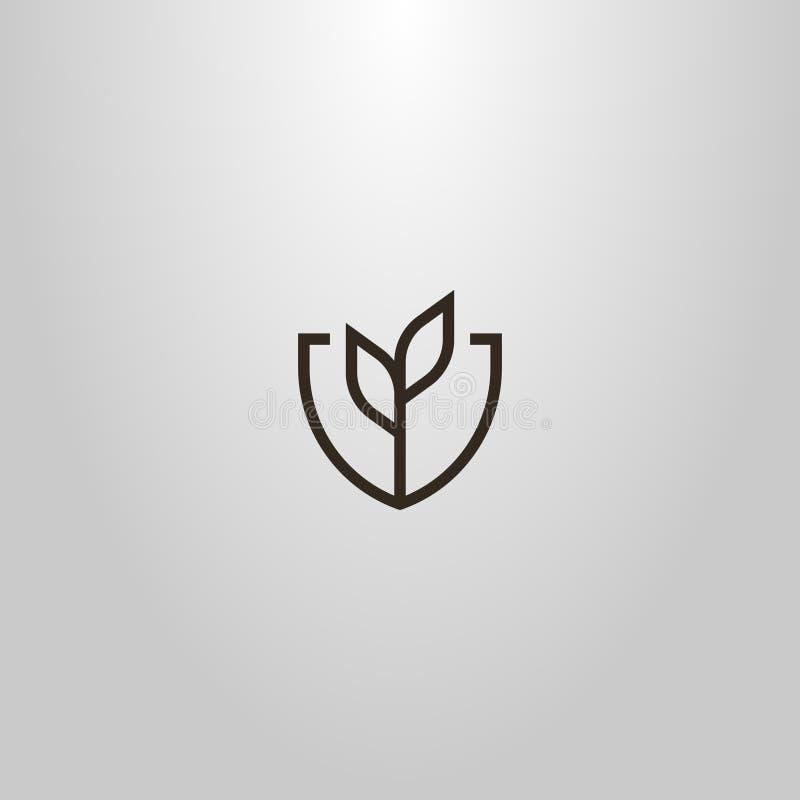 Простая линия знак вектора искусства геометрический завода с 2 листьями в рамке экрана форменной стоковые изображения rf