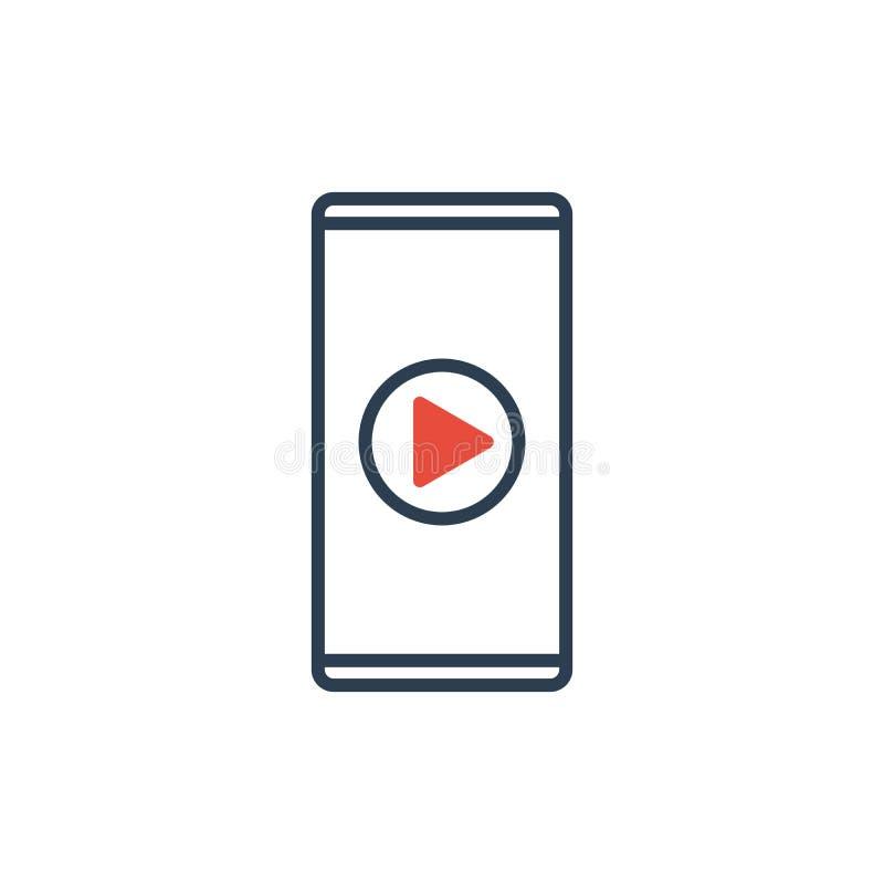 Простая линия значка вектора сотового телефона - видео- значка игры бесплатная иллюстрация