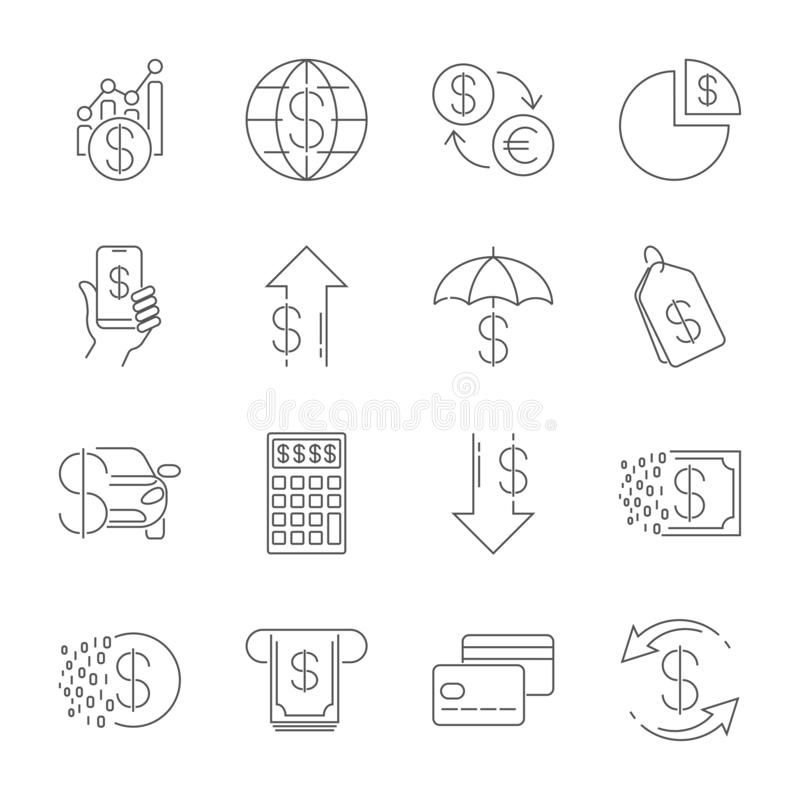 Простая линия значки сети установила - деньги, финансы, оплаты Содержит такие значки как бумажник, ATM, вычисление и больше edita иллюстрация вектора