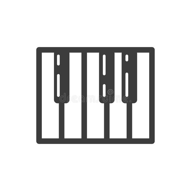 Простая линия значок вектора ключа рояля искусства иллюстрация штока