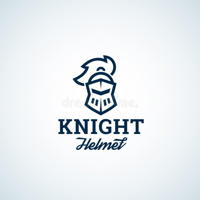 Простая линия значок вектора конспекта шлема рыцаря стиля, символ или шаблон логотипа Голова Sillhouette воина с современным иллюстрация штока