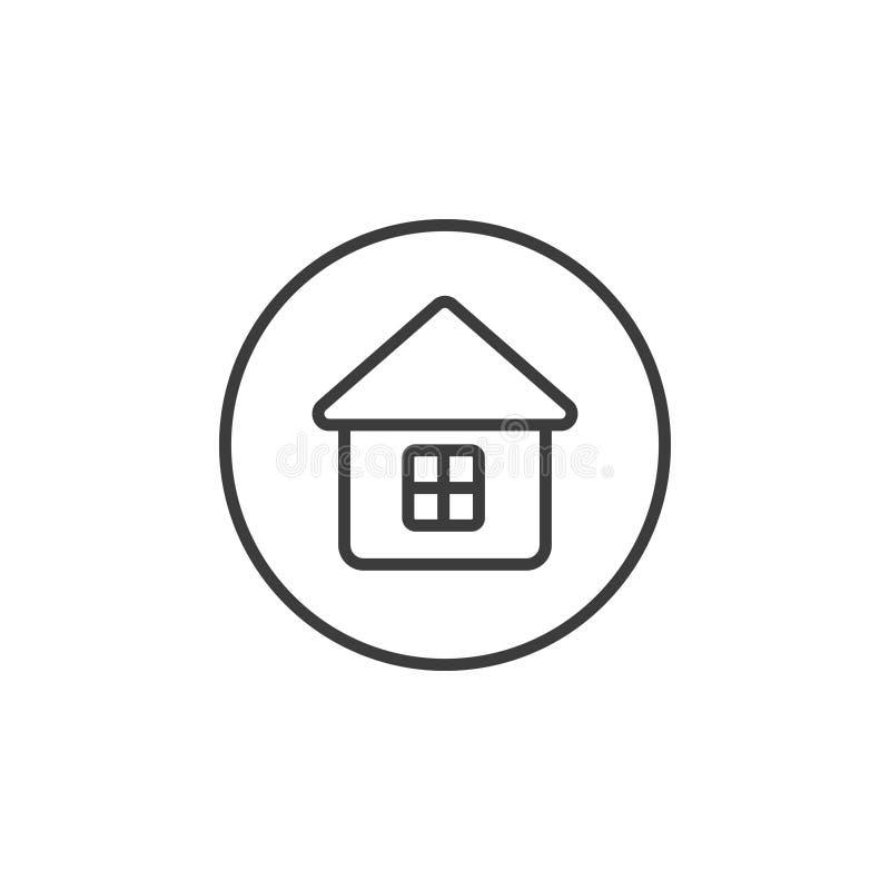 Простая линия значок дома искусства в круглой рамке иллюстрация вектора