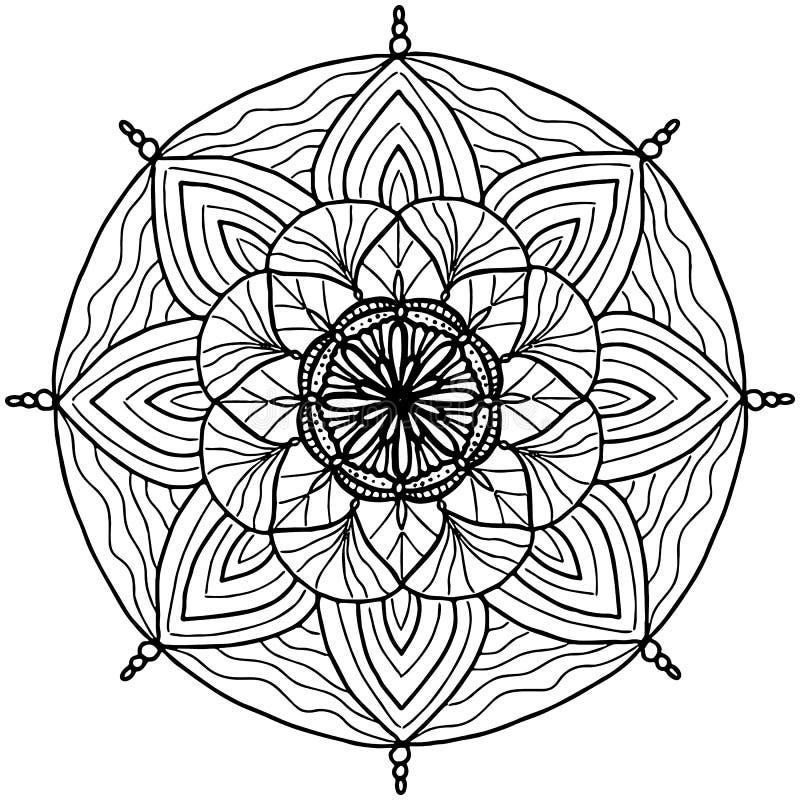 Простая линия предпосылка вектора мандалы искусства геометрическая Сложная линия притяжка для книжка-раскраски и украшения бесплатная иллюстрация