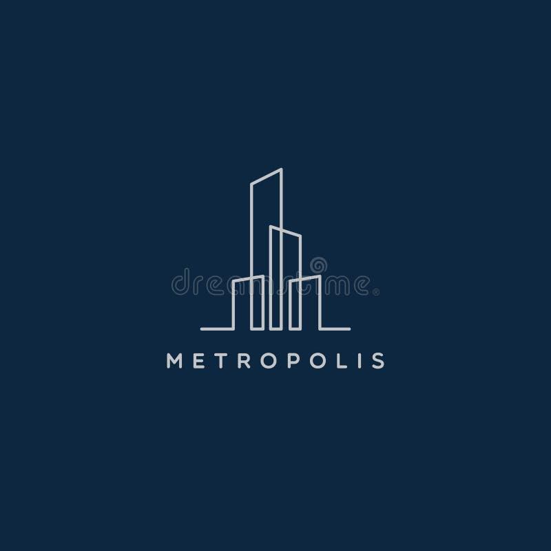 Простая линия символ знака логотипа недвижимости свойства города искусства иллюстрация штока