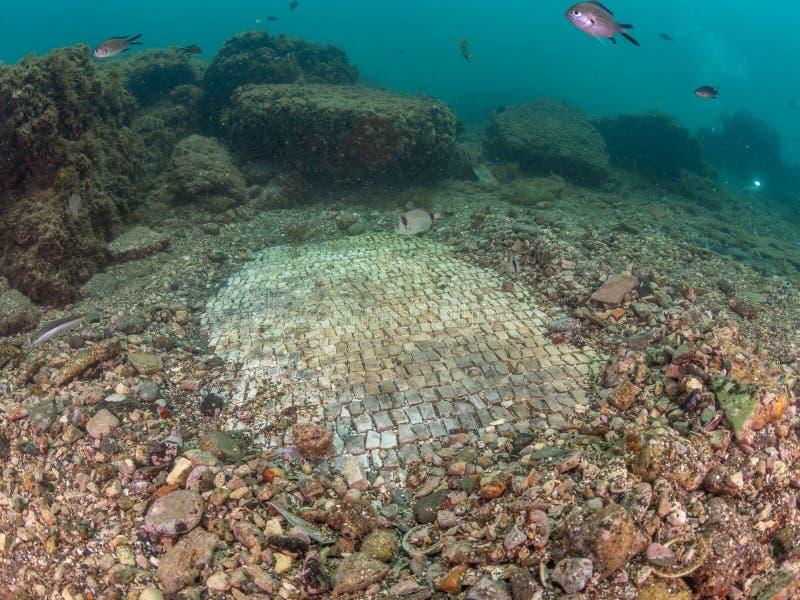 Простая мозаика в императоре Claudio's Ninfeum подводный, archeo стоковое изображение