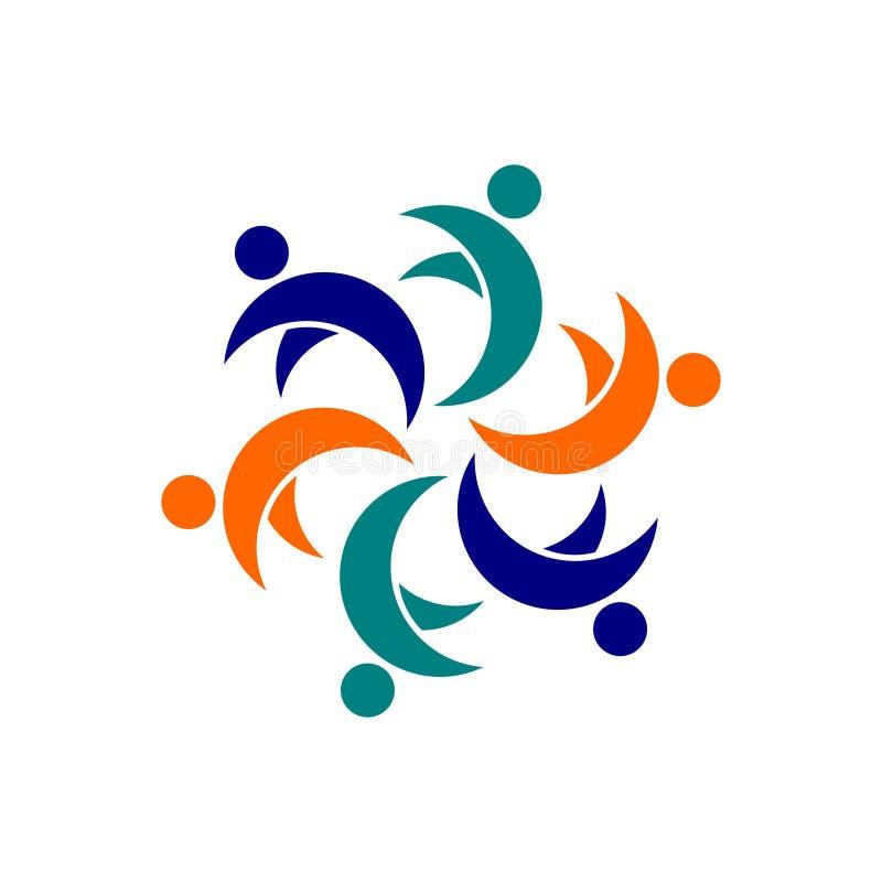 Простая община конспекта логотипа с голубым цветом для деловой компании стоковое изображение