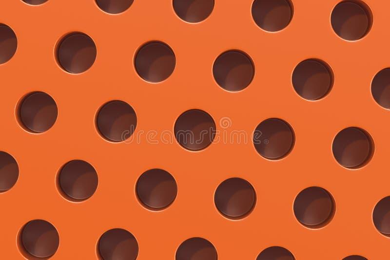 Простая оранжевая поверхность с цилиндрическими отверстиями иллюстрация штока