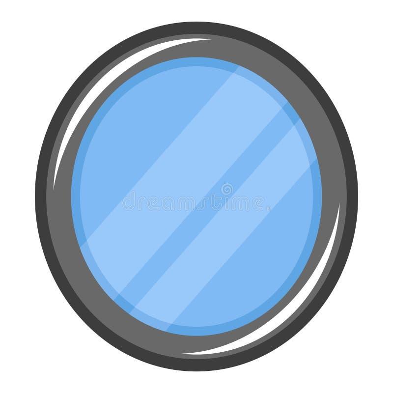 Простая, плоская, серая иллюстрация зеркала Овальный значок зеркала Изолировано на белизне иллюстрация вектора