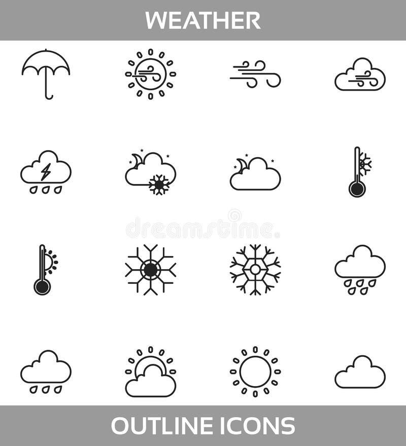 Простая погода ofкомплекта связала значки Lineвектора Содержит солнце,облако, шторм, снег, ветер, дождь и больше asIcons иллюстрация вектора